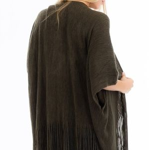 Fringe Trim Sweater Knit Cardigan/Poncho Olive